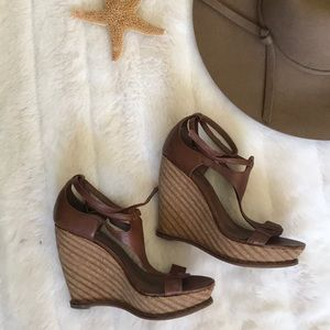 RARE 7 for All Manking Brown Strap Wedges Leather